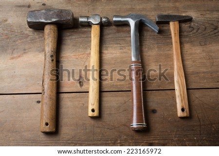 Carpentry tools on a wooden table top - stock photo