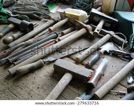 carpentry work tools on a wooden table  - stock photo