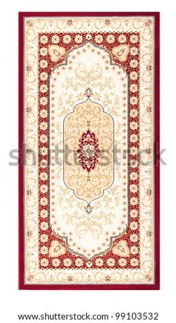 Carpet frame art design - border pattern background on white - stock photo