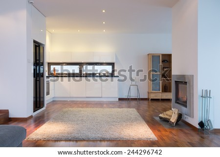 Carpet on the floor in beauty house - stock photo