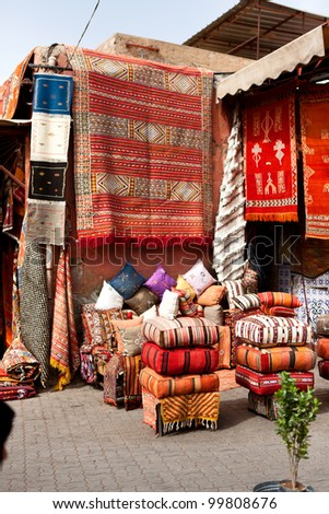 Carpets for sale in Marrakech, Morocco - stock photo