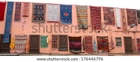 Carpets, the souk Marrakesh  - stock photo