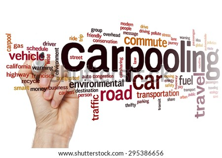 Carpooling concept word cloud background - stock photo