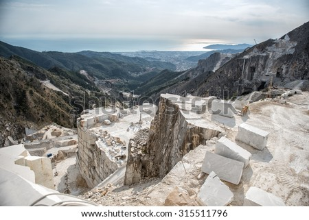 Carrara Marble Quarry - stock photo
