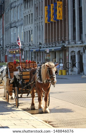 Carriage in a street of old port in Montreal city - stock photo