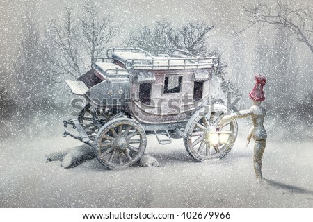 Carriage in the snow - stock photo