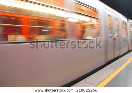 carriage of the train that travels fast in the underground station - stock photo