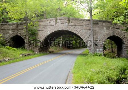 Carriage road bridge in Acadia National Park, Maine, USA - stock photo