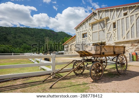 Carriages or wagons on the ranch. - stock photo