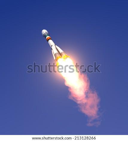 Carrier Rocket Launch. 3D Scene. - stock photo
