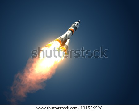 Carrier Rocket Takes Off. 3D Scene. - stock photo