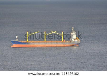 Carrier ship tanker in Gibraltar, Africa, Spain - stock photo