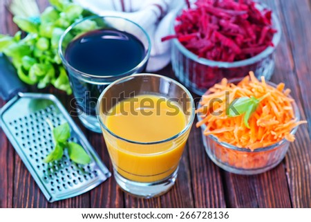 carrot and beet juice - stock photo