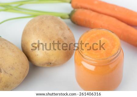Carrot and Potato baby's puree - stock photo