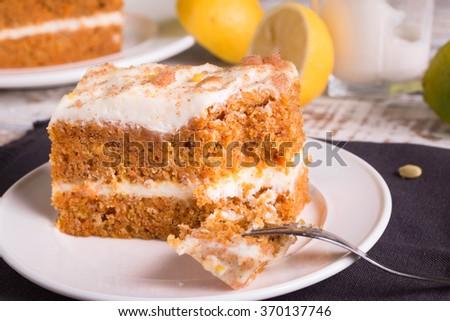 Carrot Cake on white plate.  - stock photo