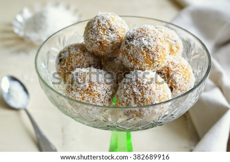 Carrot, Coconut and Dried Fruit Sweet Balls, Raw Vegan Food  - stock photo