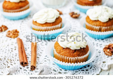 carrot cupcake on a white background. the toning. selective focus - stock photo