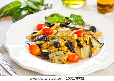 Carrot Fettuccine with aubergine and olive
