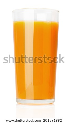 carrot juice isolated on the white background