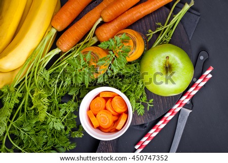 Carrot orange smoothie. Healthy lifestile. Green concept. - stock photo