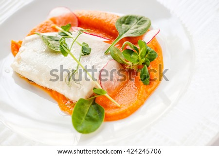 carrot puree and fish