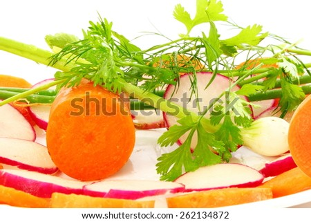 carrot red radish slice with herb as salad