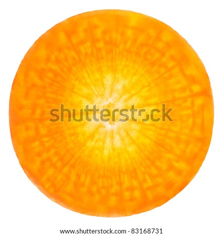 Carrot sliced on a white background. One can see living cells - stock photo