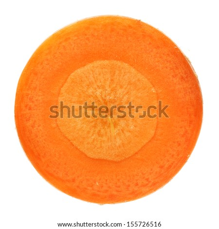 Carrot slices on white background  - stock photo