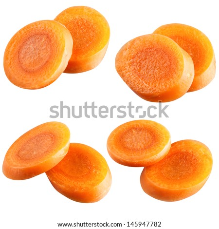 carrot slices. With clipping path - stock photo