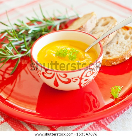 carrot soup with ginger - stock photo