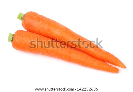 Carrot tubers isolated on white background