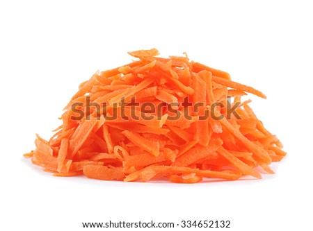 Carrot vegetable grated isolated on white background - stock photo