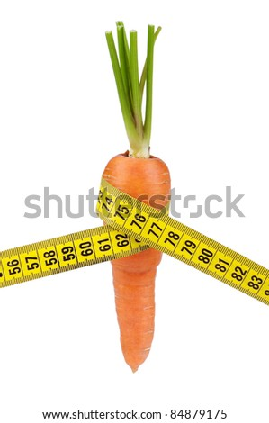 Carrot with a measure tape wrapped around isolated over a white background