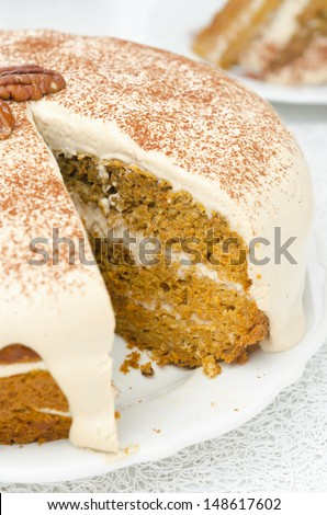 carrots and pumpkin cake with coffee cream in a cut closeup - stock photo