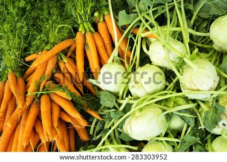 Carrots and turnips - stock photo