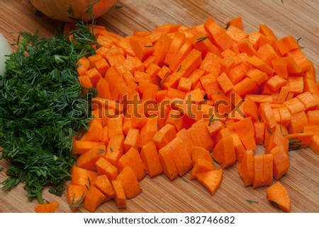 carrots, diced and dill - stock photo