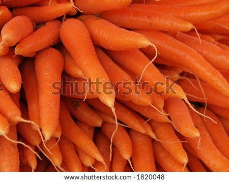 Carrots in a market, close-up - stock photo