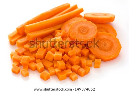 Carrots sliced and diced  - stock photo