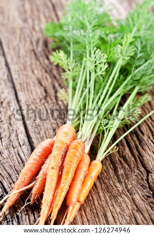 Carrots with leaves on a old wooden table. - stock photo