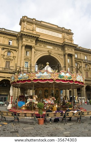 carrousel in Florence,Italy - stock photo