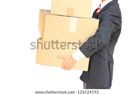 carrying cardboard boxes - stock photo