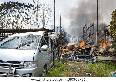 Cars damaged by fire in Thailand - stock photo
