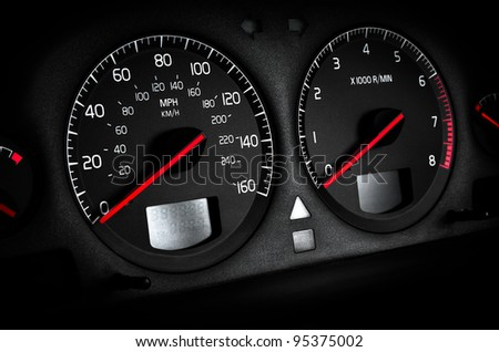 Cars dashboard tachometer and speedometer, black Vignetting, no trade marks - stock photo