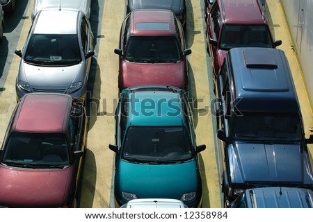 Cars in lines - stock photo