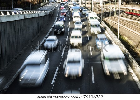 cars on a highway in berlin - stock photo