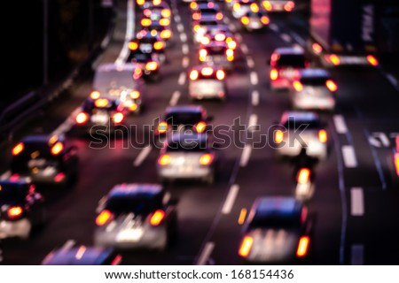 cars on highway, bokeh effect