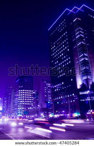 Cars on street at night, Seoul - stock photo