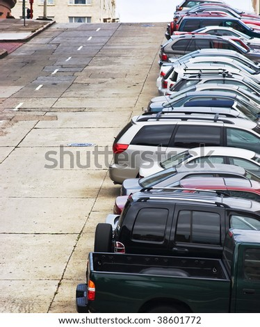 Cars Parked on the Hill - stock photo