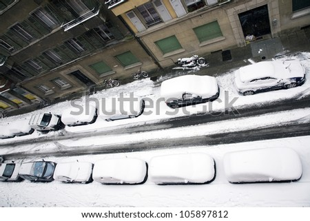 Cars snowed under - stock photo