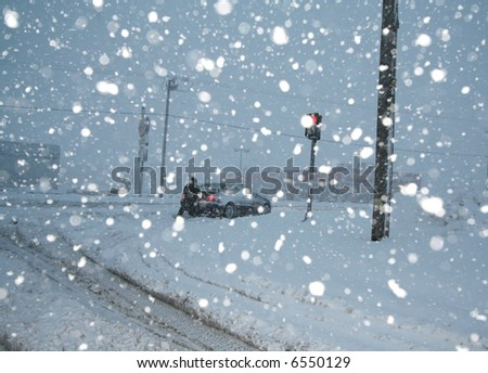 Cars stuck in the snow - stock photo